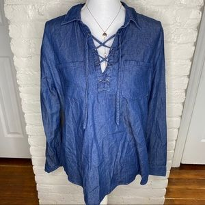 Faded Glory Denim Lace Up Top L